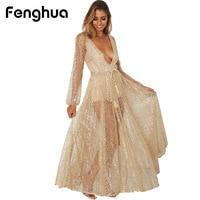Fenghua Long Sequined Summer Dress Women 2018 Sexy V Neck Maxi Beach Dess Elegant Wedding Evening