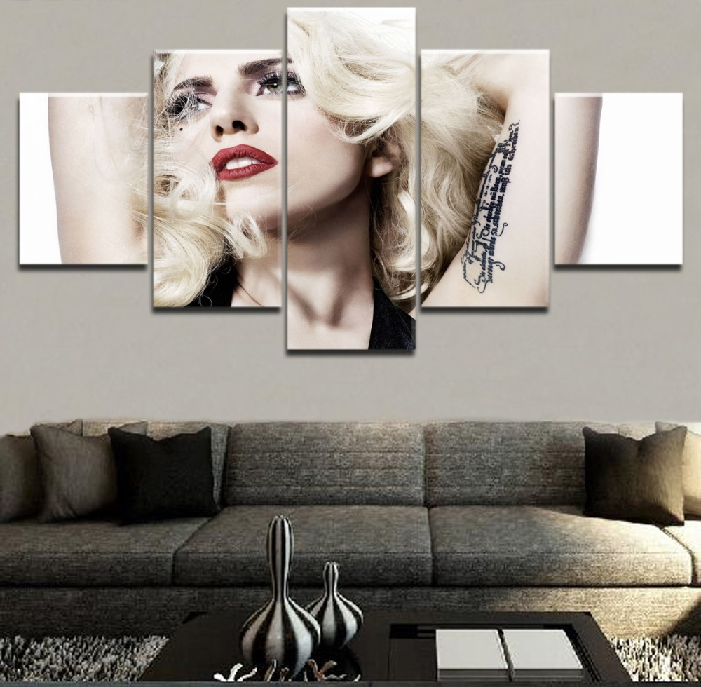 Canvas Modular Pictures Wall Art Framework 5 Pieces Music Painting Lady Gaga Poster HD Printed Draw For Living Room Decorative