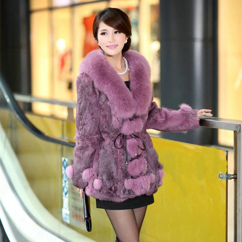 2017 Luxury Genuine Rabbit Fur Coat Fox Fur Collar Autumn Winter Women Fur Outerwear Coats Lady Medium-long Clothing 3XL 0729 image