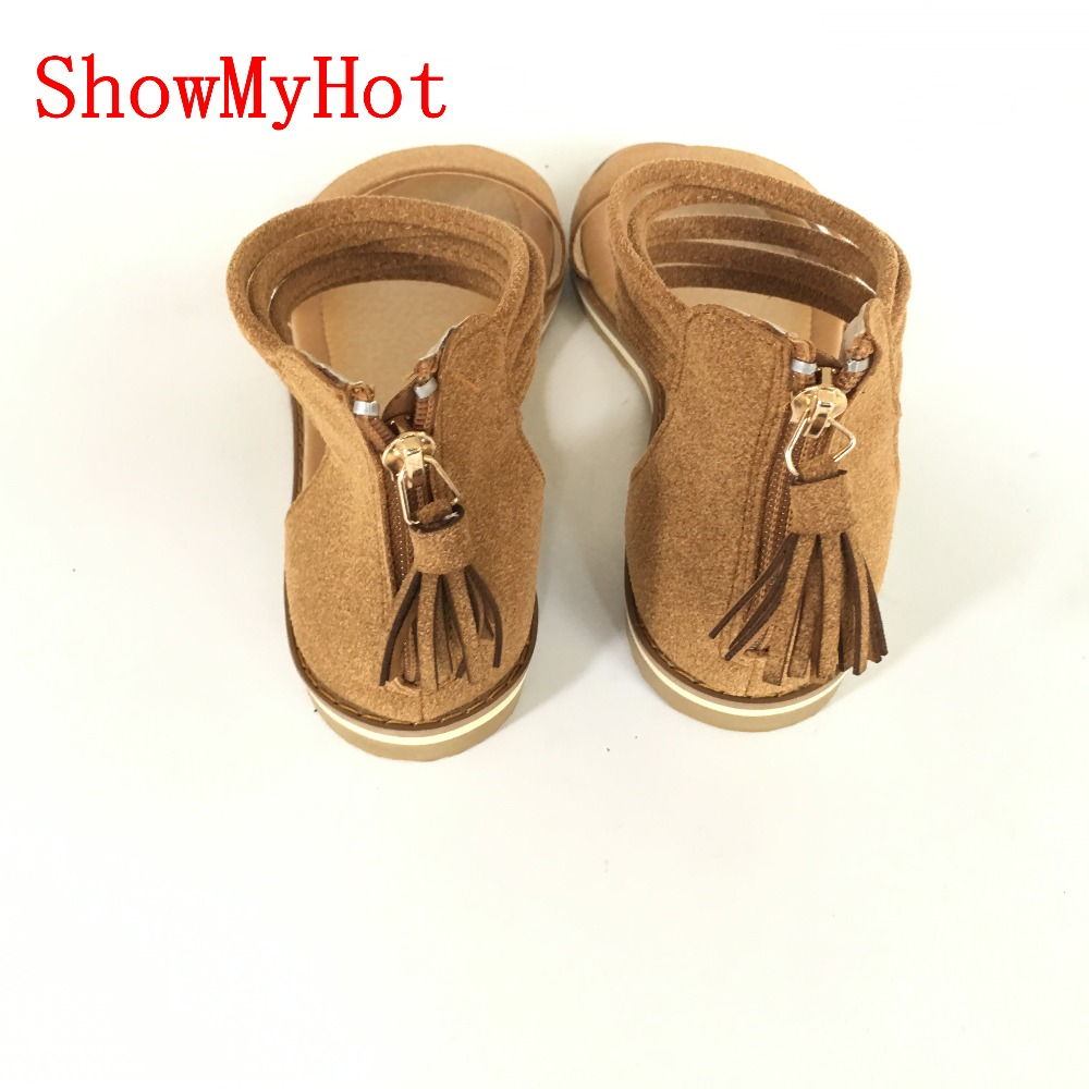 0b21419057538 ShowMyHot Shoes Woman Fashion Tassel Straps Flat Sandals Women Summer Open  Toe Platform Sandalias Beach Shoes gladiator sandals-in Women s Sandals  from ...