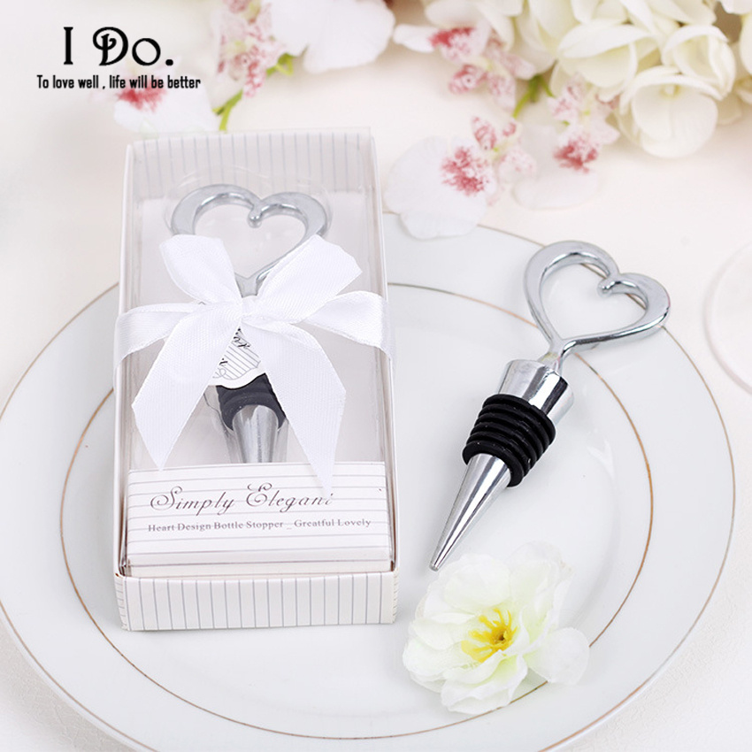 Free shipping heart wine stopper wedding favors and gifts for Wedding supplies