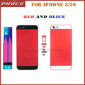 Fashion Colors Red Blue Housing For iPhone 5 5S Hard Metal Back Battery Housing Middle Frame Replacement Back Cover