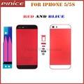Los colores de moda rojo azul de vivienda para iphone 5 5s de metal duro volver cubierta de batería de reemplazo marco medio contraportada