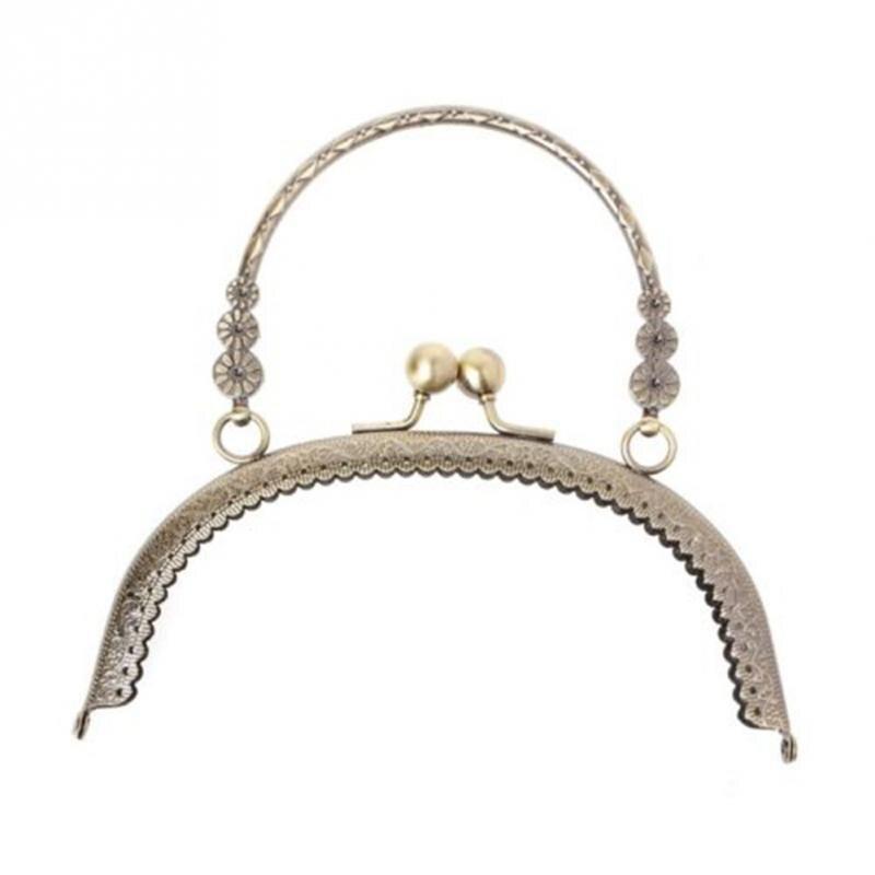1pc Alloy Purse Frame Handle For Women Clutch Bag Handbag Accessories Round Making Kiss Clasp Lock Antique Bags Hardware 16.5cm