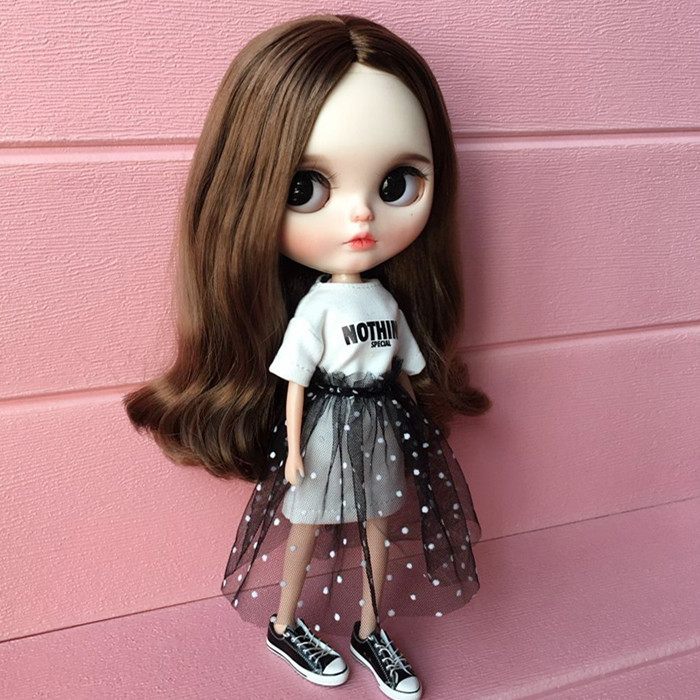 1 Set = T-shirt + Lace Dress Doll Clothes Doll Accessories For Blythe Shirt 30cm Doll Skirt Pullip Azone Momoko For Barbie