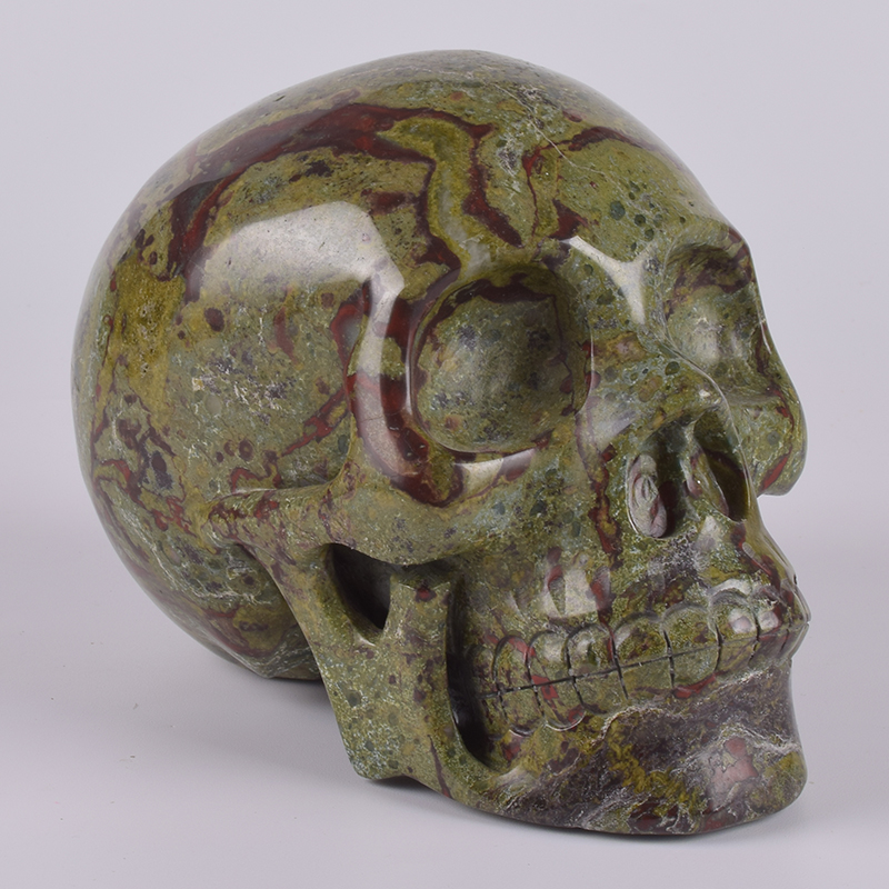 Human Head Statue 6 Inch 2667 g Dragon Blooded Natural Stone Skull figurine Hand Carving Craft
