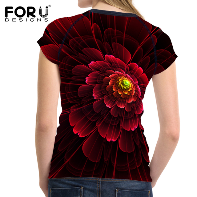 FORUDESIGNS Summer Harajuku Women T-shirt 3D Red Floral Printed Tee Shirts for Women T Shirts Female Short Sleeve Ladies Tees