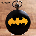 Super Hero Бэтмен Карманные Часы Мужские Кварцевые Карманные fob Часы Ожерелье Цепь Кулон подарки Часы Relogio Де Bolso