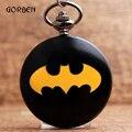Super hero batman mens relógio de bolso de quartzo fob relógios de bolso colar de corrente pendente presentes relógio relogio de bolso