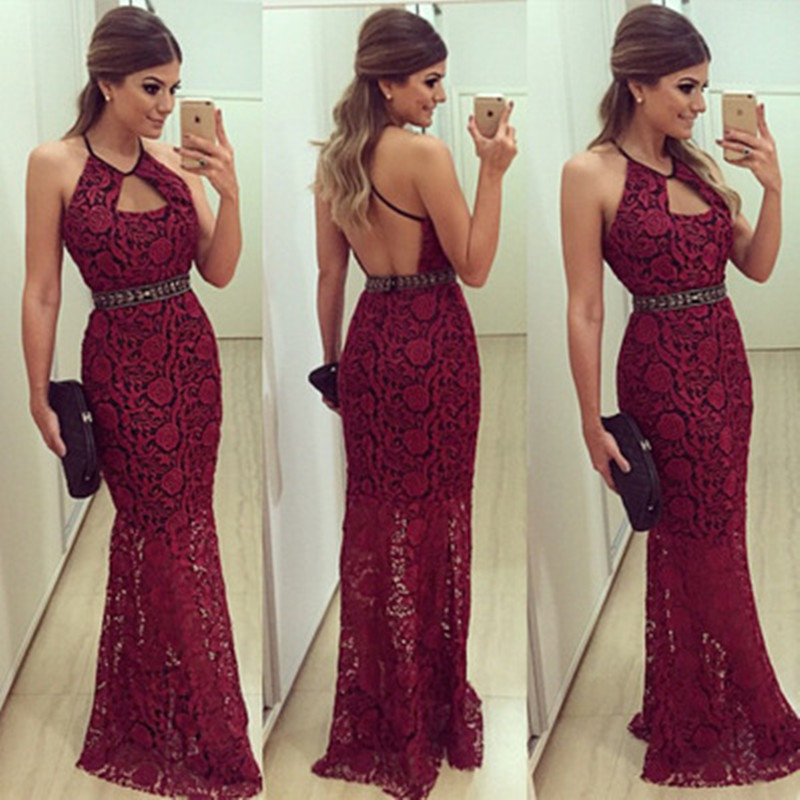 Fashion High-waisted Hang Neck Dress for Pregnant Women Wine Red Lace Halter Backless Dresses Long Style Ladies Evening Clothes