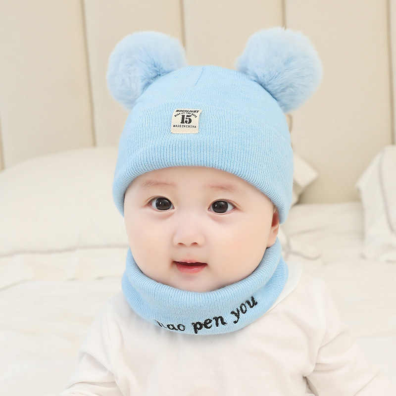 5ca7b4d89b677 MOLIXINYU 2Pcs/Set Newborn Baby Knitted Hat Scarf Cartoon Cat Scarves  Infant Boys Girls Winter Warm Crochet Baby Beanie Set