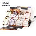 Discount Amber Spectacles Frames Retro Optical Glasses Frames Acetate Eyeglasses Frames Round Clear Fashion Glasses HX1-17008