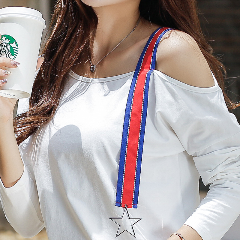 New 2017 Autumn Female T-shirt Strapless Long Sleeve Korean Loose White T-shirts For Women Cotton T Shirt Off Shoulder Tops Tees