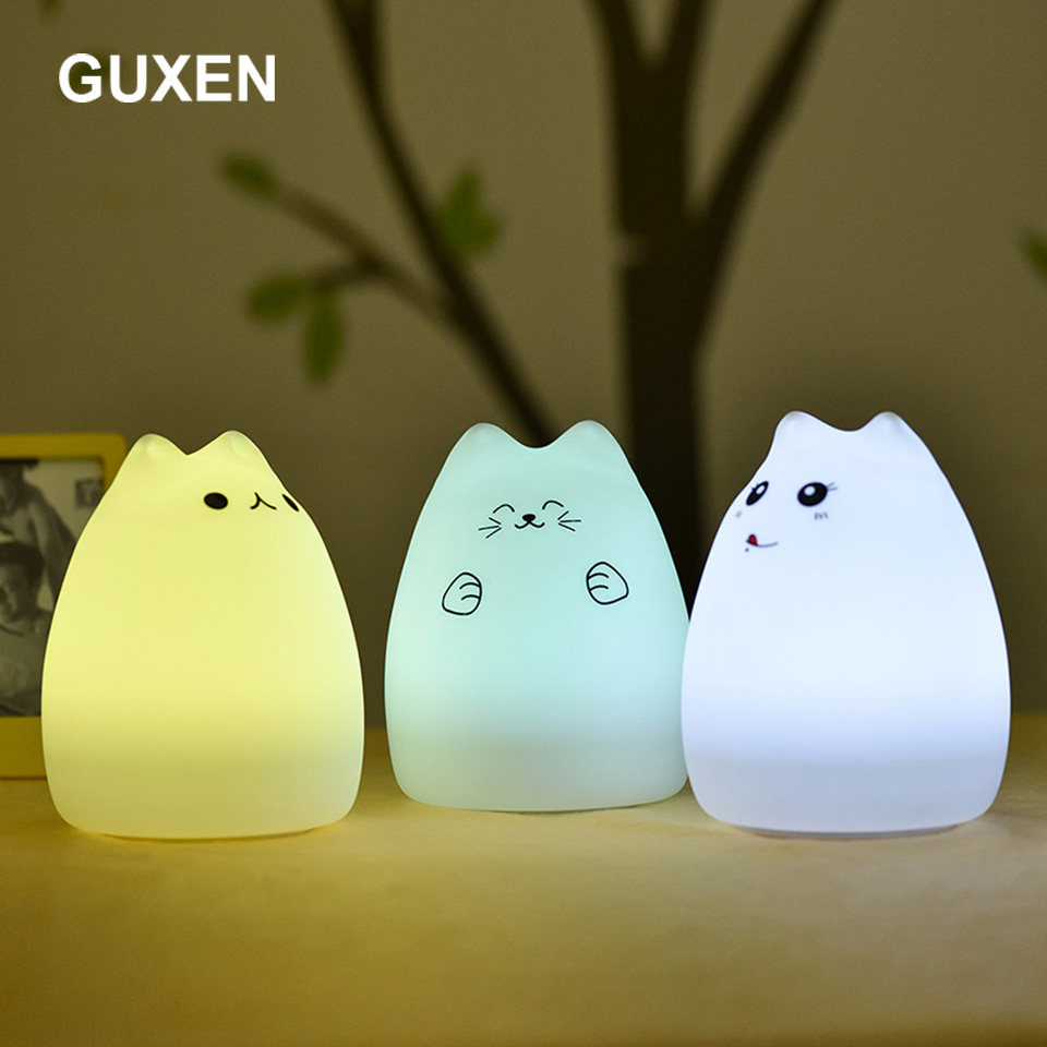 Guxen Cute Cat LED Children Night Light Multicolor USB rechargeable Silicone Soft Baby Nursery Lamp Silicone Nursery Night Lamp lumiparty touch cute dolphin usb rechargeable children night light baby whale multicolor led light silicone pat lamp bedside