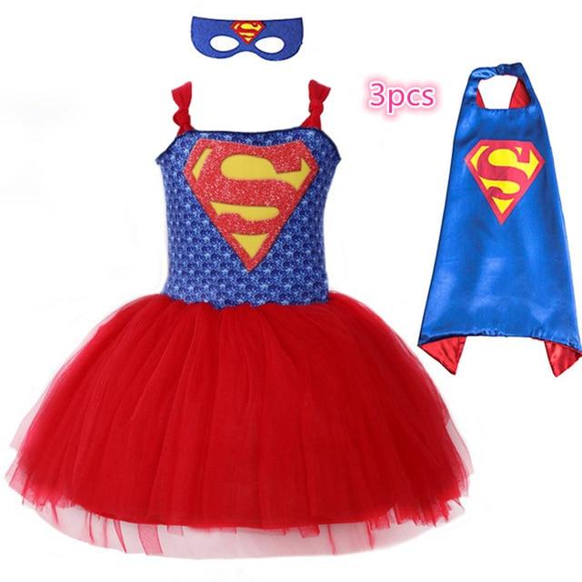 eaefe1224d7 Летом Супермен Бэтмен юбка-пачка для девочек платье с маска супер герой  стиле Детский костюм