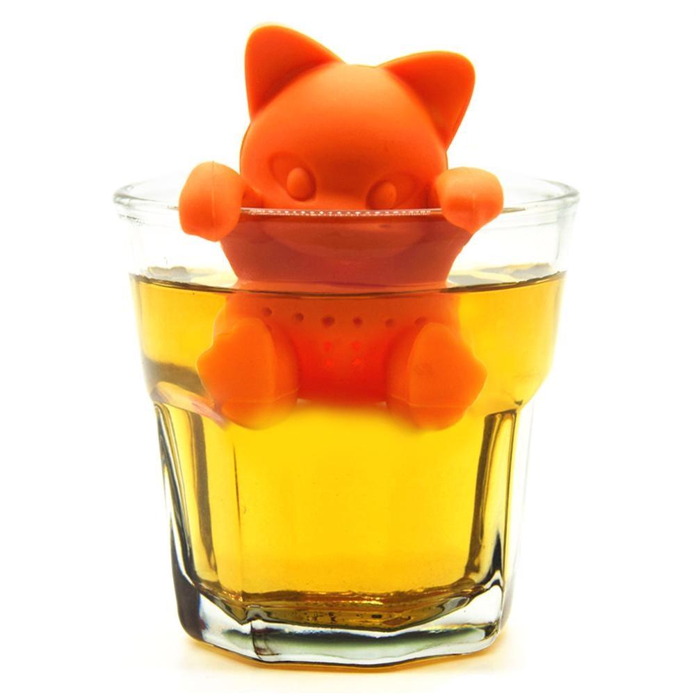 Cute Silicone Cat Tea Infuser Tea Filter Diffuser Reusable Tea Strainer Spice Loose Tea Leaf Herbal Tool Teapot Teabags Orange