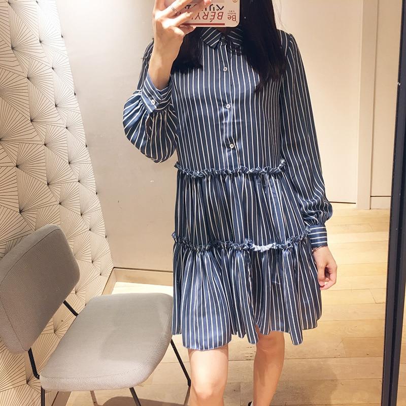 2019 printemps et été femmes élégantes robe nouvelle Blouse rayée avec robe à manches longues lâche