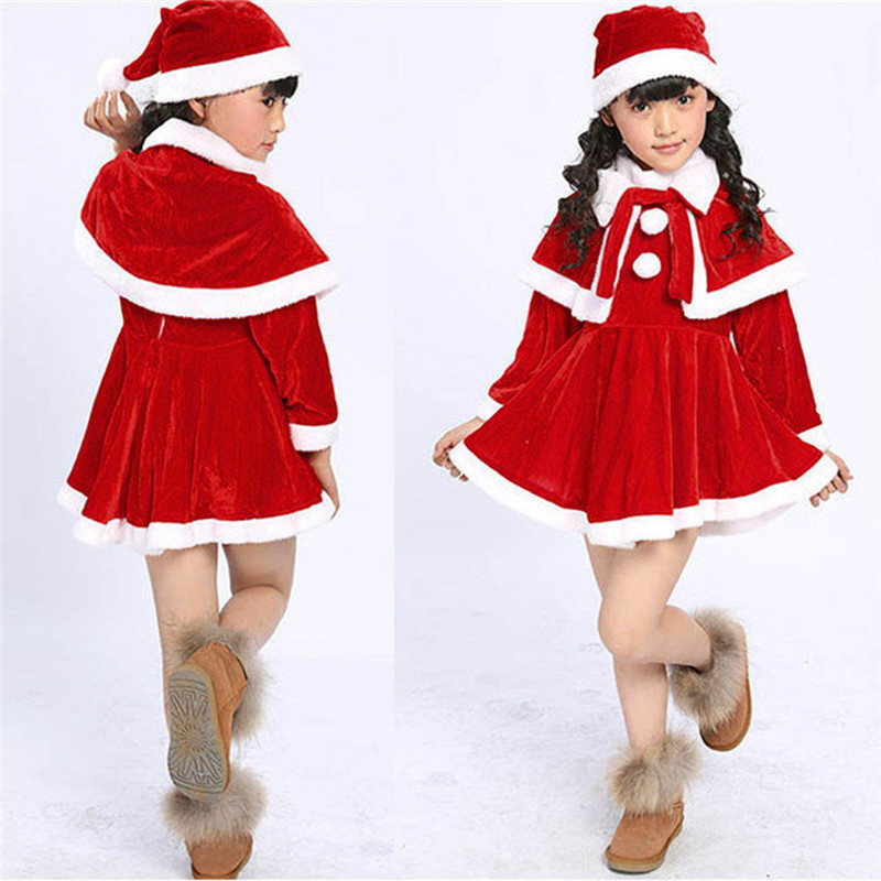 Baby clothes 2018 FASHION Toddler Kids Baby Girls Christmas Clothes Costume Party Dresses+Shawl+Hat Outfit 2sw0811 sr039 newborn baby clothes bebe baby girls and boys clothes christmas red and white party dress hat santa claus hat sliders