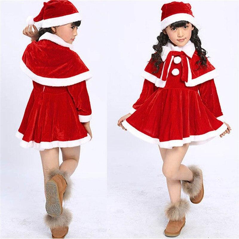 Baby kleidung 2018 MODE Kleinkind Kinder Baby Mädchen Weihnachten Kleidung Kostüm Party Kleider + Schal + Hut Outfit 2sw0811