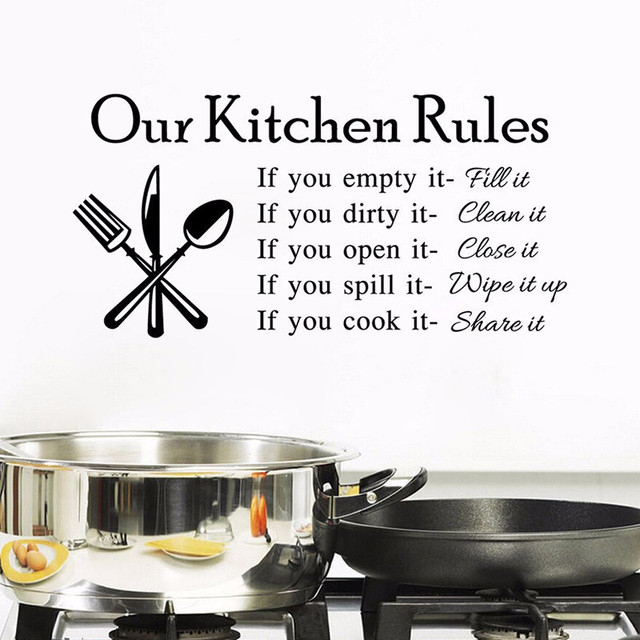 T Lettering Art Quote Decals Home Poster Sofa Wall Decoration Kitchen Rules Living Room Vinyl Wall