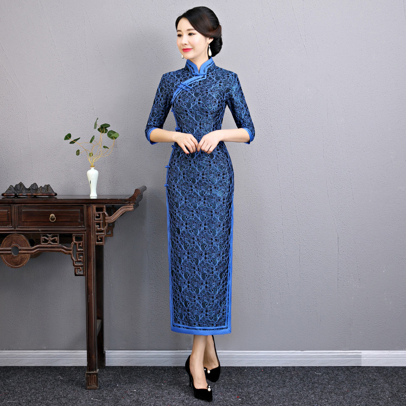 Sexy femme haute fente dentelle Cheongsam chinois classique femme Slim Long Qipao bleu demi manches robe Vestidos taille M-XXXL