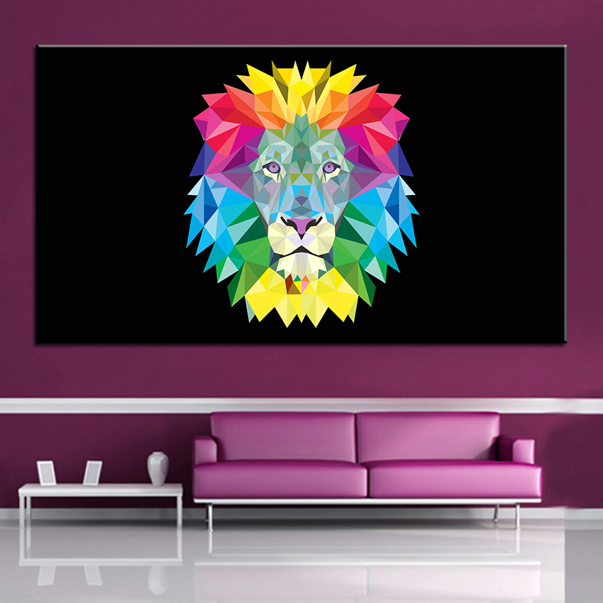 Large Size Printing Oil Painting Vector Lion Wall Painting