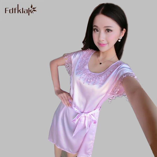 New Dress female summer nightgowns women short sleeve sleepwear ...
