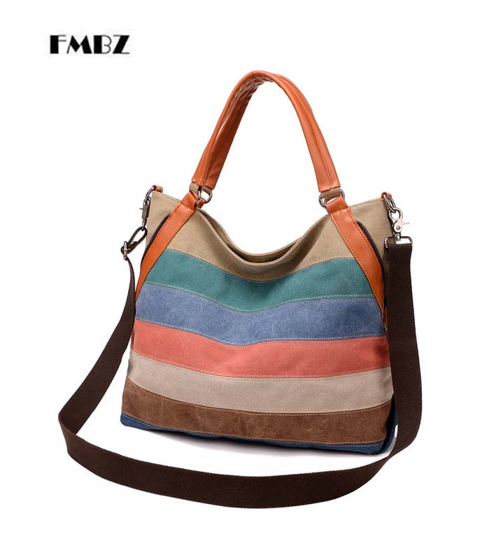 2018 new canvas FMBZ shoulder bag diagonal cross bag rainbow hit color casual female bag retro canvas bag free shipping