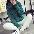 Fashion women new Autumn winter Turtleneck sweater big size Hemp flowers pattern solid color Loose Thick Warm knitwear sweaters
