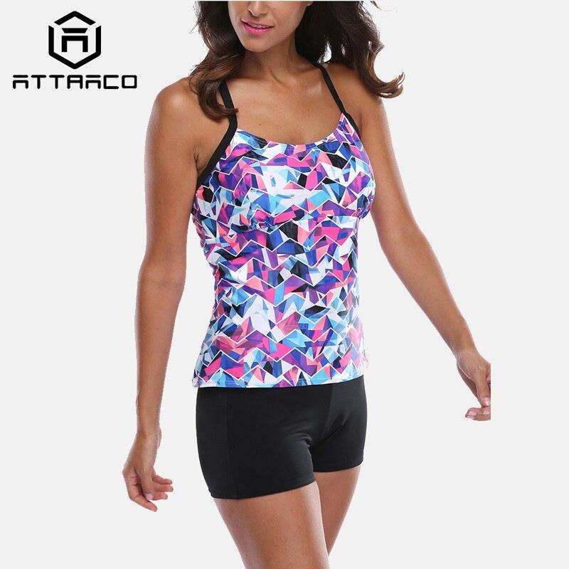 Attraco Tankini Set Women Swimwear Leopard Printed Swimsuits Backless Bathing Suit Beach Wear Bikini