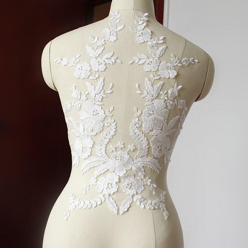 1 ks francouzské krajky tkaniny slonoviny bílé černé bavlněné krajky Applique tkaniny květiny pro svatební šaty příslušenství ruční DIY řemesla