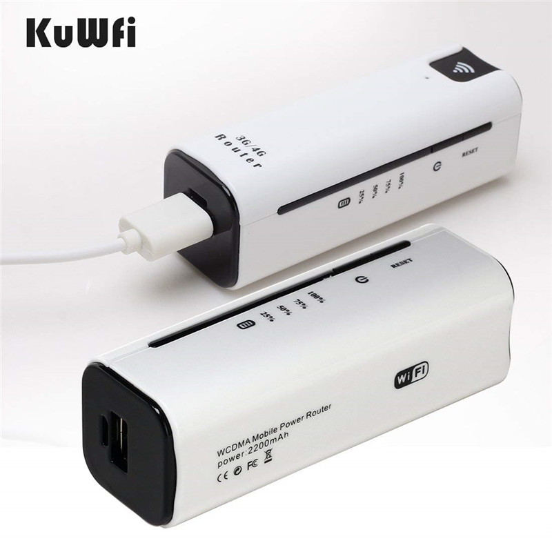 Image 3 - KuWfi 2200mAh 3G Wireless Router Mini Portable WI FI Routers Support 2100MHZ Mobile WiFi Hotspot With Sim Card Slot-in 3G/4G Routers from Computer & Office