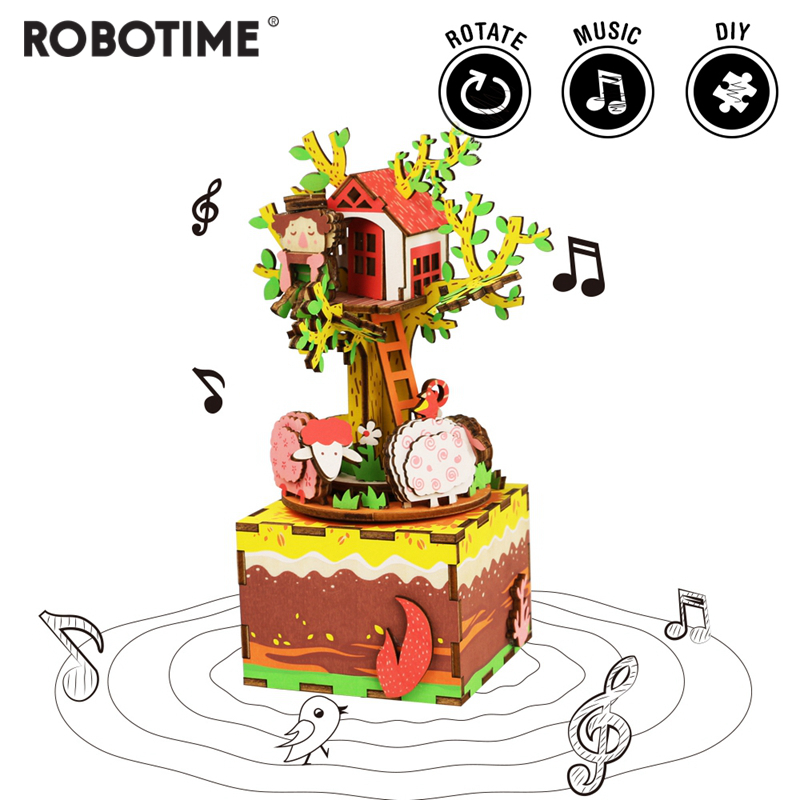Robotime DIY Tree House 3D Wooden Puzzle Game Assembly Rotatable Music Box Toy Gift For Children Adult AM408