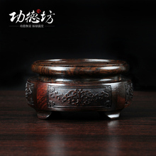 Black Catalpa wood carving pattern incense burner base of thick wooden decoration art