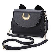 Kawaii Sommer Sailor Moon Damen Handtasche Schwarz Luna Katze Form Kette Umhängetasche Pu-leder Frauen Messenger Crossbody Kleine Tasche