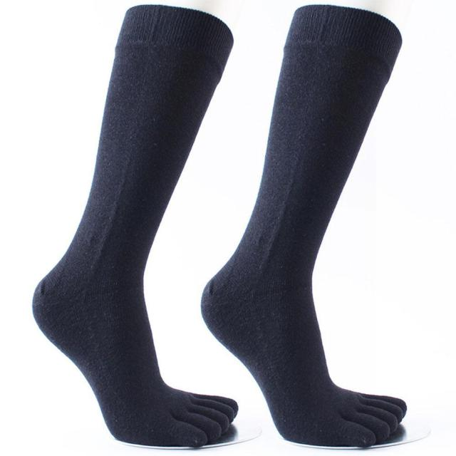 Men Five Finger Toe Socks Elastic Men's Business Dress Breathable Soild Cotton Long Sox High Quality Crew Socks Running
