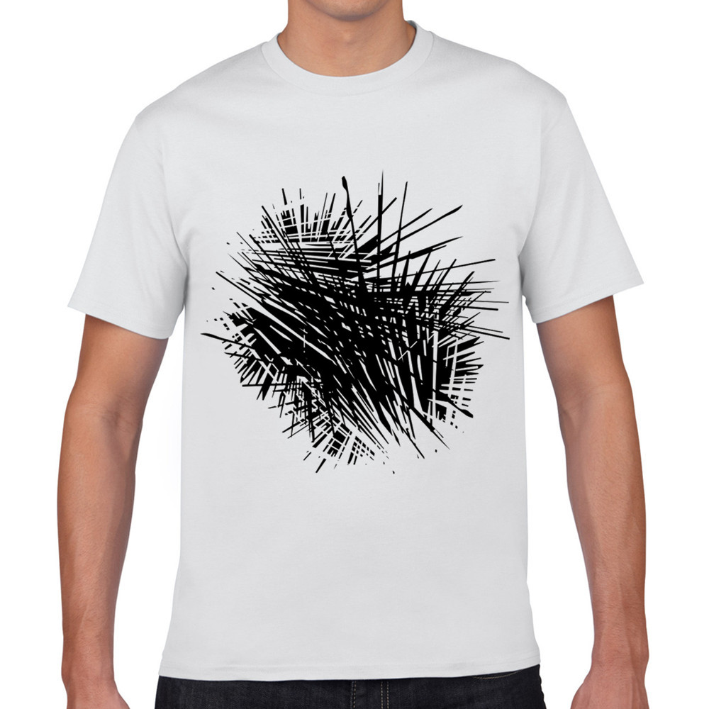 Best tee shirts black abstract lines interspersed 3d for Best online tee shirt printing