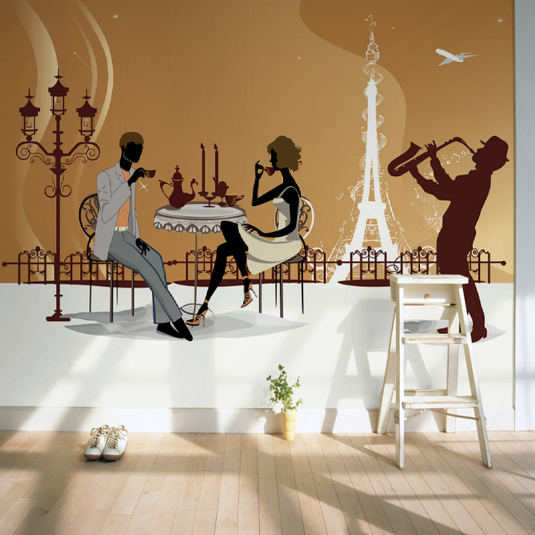 Custom photo wallpaper mural leisure fashion hand-painted wallpaper restaurant coffee shop KTV leisure bar wallpaper mural