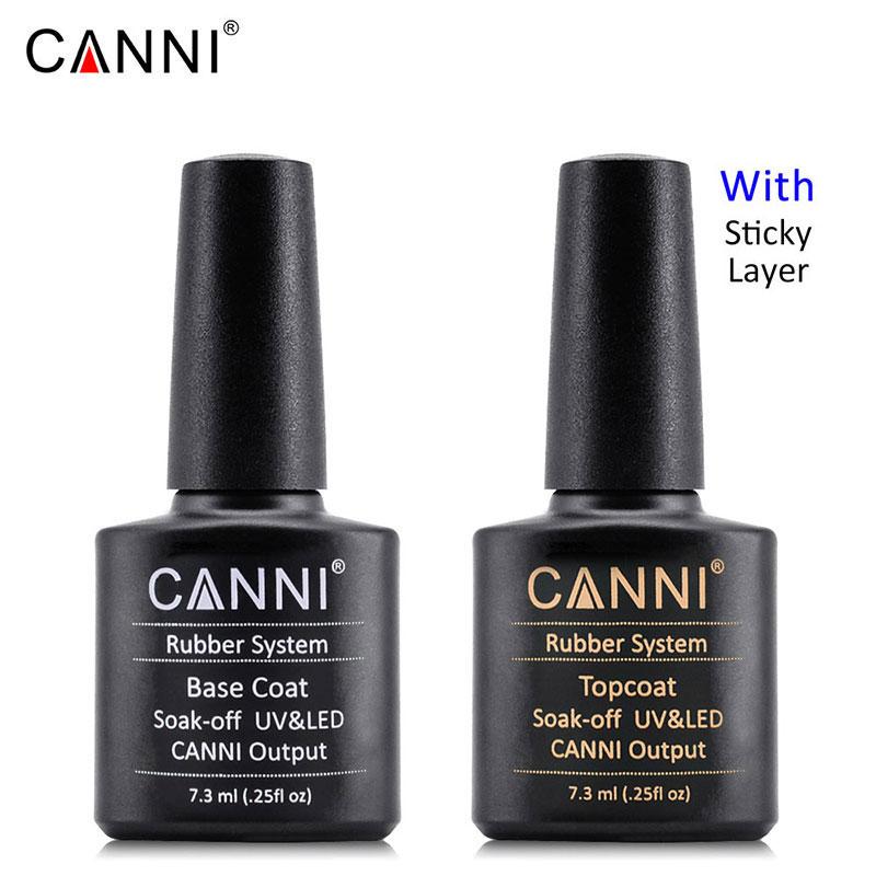 CANNI бренд на весь ноготь Art УФ светодиодный Fast Dry Лаки резиновая основа пальто длительный без вытирания яркие блестящие пальто УФ-гель для но...