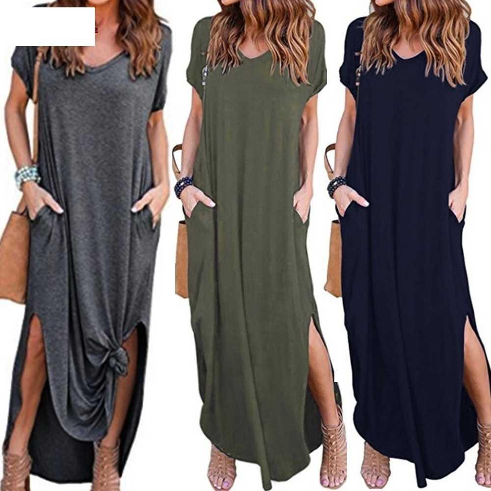 Женские свободные летние пляжные на бретелях Рубашка с короткими рукавами пол-Длина длинное платье G3
