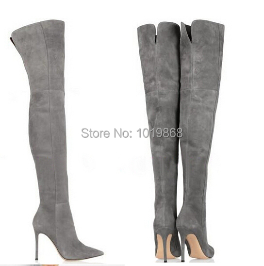 Wholesale suede boot high heel slim thigh high boots grey brown ...