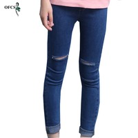 Selling New Children S Ripped Jeans Fashion Hole Girls Denim Pants Spring Autumn Skinny Baby Girl