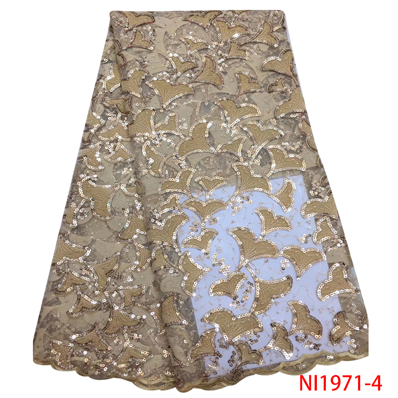 Velvet Sequins Lace Fabric Hot Sale,African Lace Fabric High Quality,French Tulle Lace With Sequin For Wedding KSNI1971-4