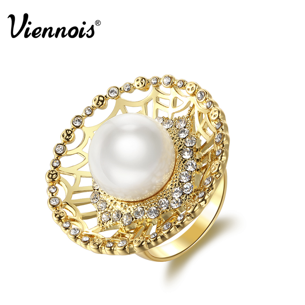 New Viennois Gold Color Party Rings For women Simulated Pearl Rings Full Rhinestone Paved Round Rings Trendy For Birthday