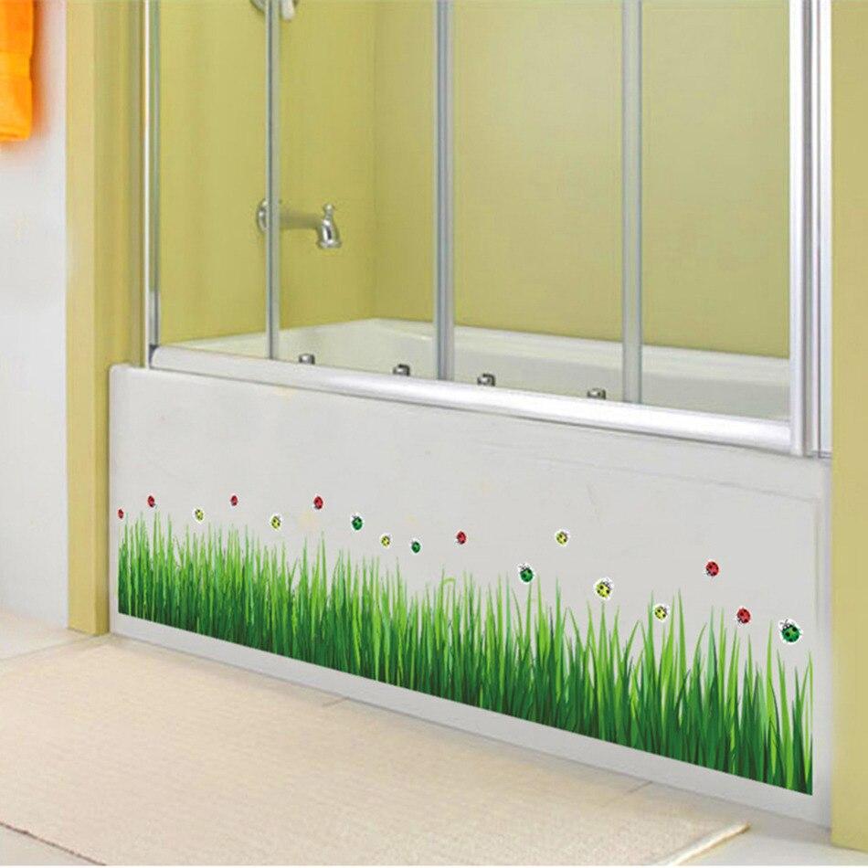 Baseboard Green Grass Ladybug DIY Removable Art Skirting Vinyl Wall ...