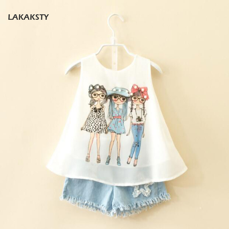LAKAKSTY 2018 New Summer Children Clothing Sets Baby Girl Chiffon Tops + Jeans Shorts 2pcs Suits Princess Kids Girls Clothes 2pcs children outfit clothes kids baby girl off shoulder cotton ruffled sleeve tops striped t shirt blue denim jeans sunsuit set