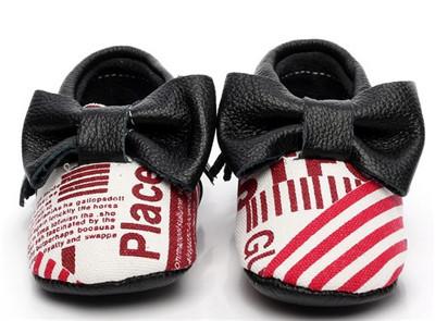 2016 Nuevas llegadas Genuina Mocasines De Cuero Del Bebé Zapatos de la Historieta Arco nudo primeros caminante suaves del bebé Zapatos de Bebé bebe