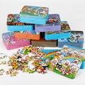 Envío gratis 80 UNIDS juguetes rompecabezas de madera, rompecabezas de animación de dibujos animados, estaño Caja de ROMPECABEZAS juguetes educativos para niños