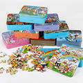 Free shipping 80PCS wooden puzzle toys, cartoon animation puzzle, Tin Box PUZZLES Children's educational toys