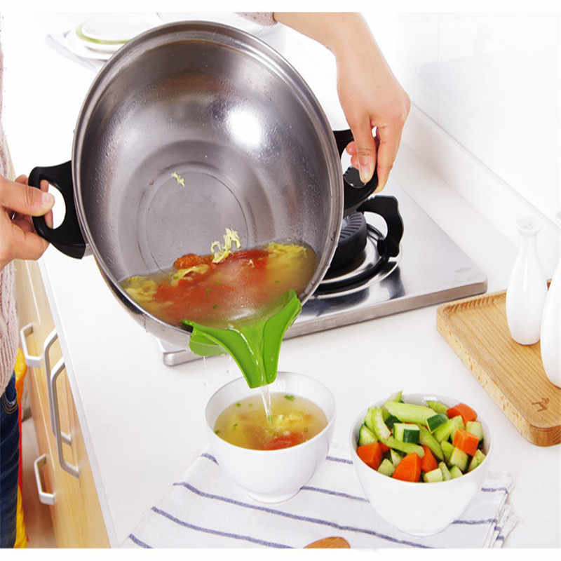 Acessórios de cozinha anti-derramamento de silicone deslizamento em despeje sopa bico funil para panelas de cozinha e tigelas e frascos gadgets de cozinha.
